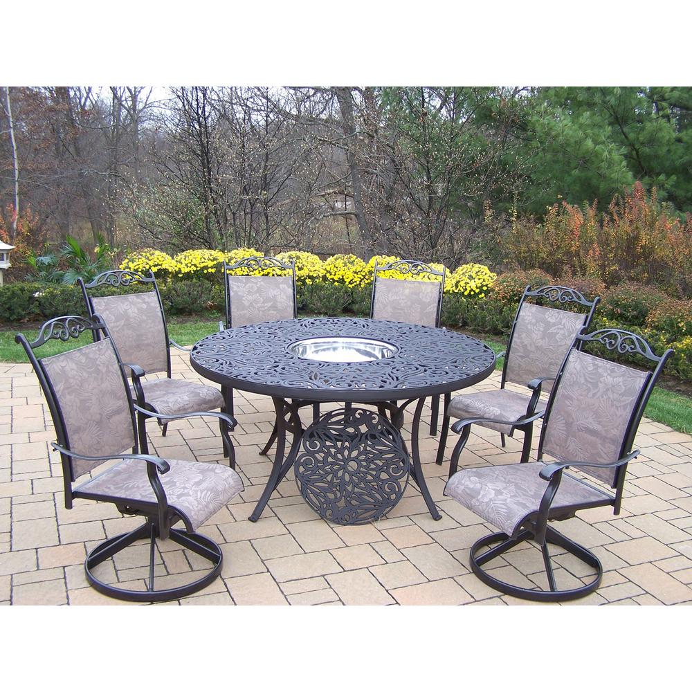Etonnant Coffee 8 Piece Aluminum Outdoor Dining Set And Stainless Steel Ice Bucket