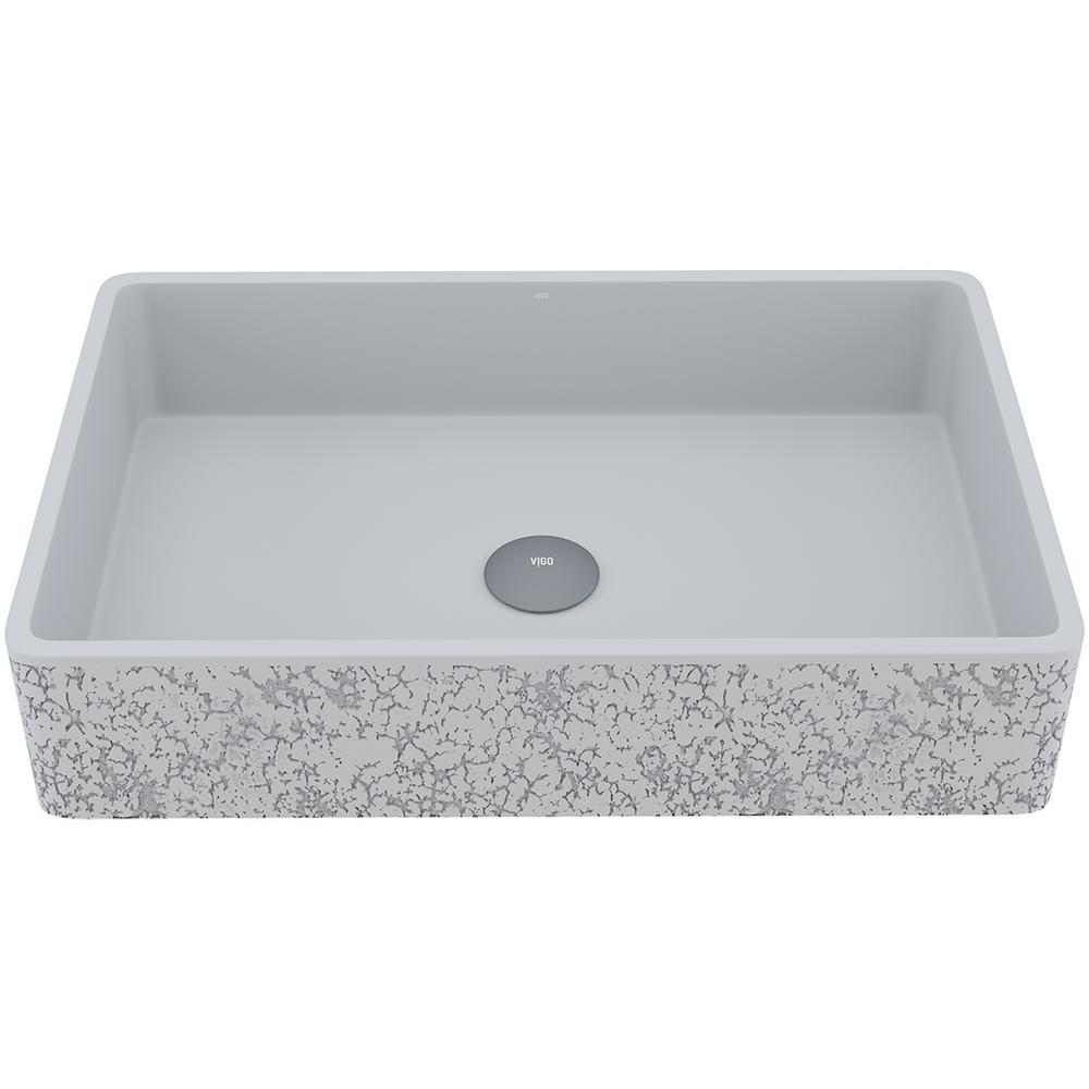 Dahlia Concrete Rectangular Vessel Bathroom Sink in Ash