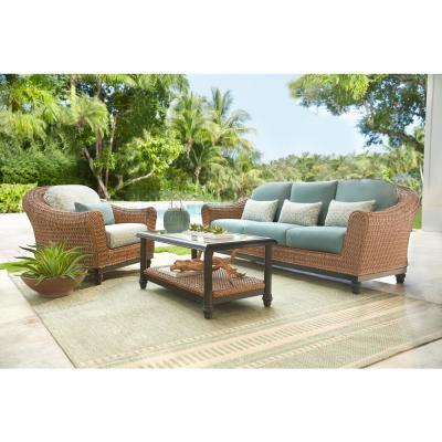 Camden Light Brown Seagrass Wicker Outdoor Patio Sofa with Sunbrella Cast Spa & Fretwork Mist Cushions
