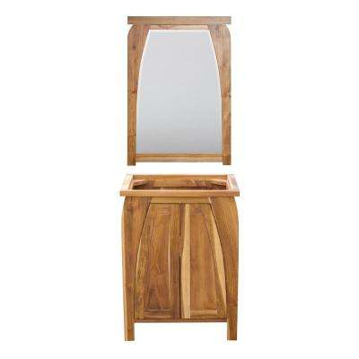 Tranquility 24 in. L Natural Teak Vanity Only With 24 in. L x 35 in. H Mirror