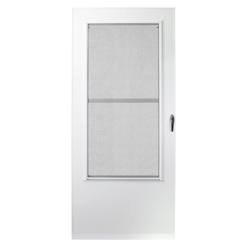 34 in. x 80 in. 200 Series White Universal Triple-Track Aluminum Storm Door