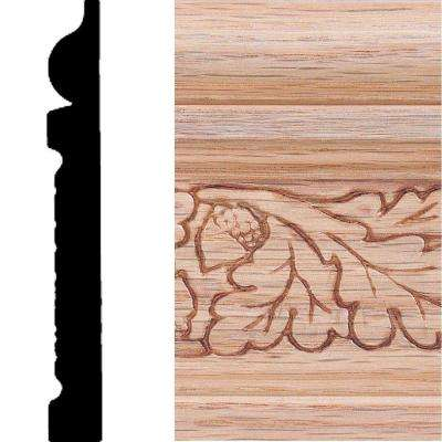 1/2 in. x 4 in. x 8 ft. Oak Embossed Oak Leaf Base Moulding