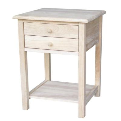 Unfinished Lamp Table with 2-Drawer
