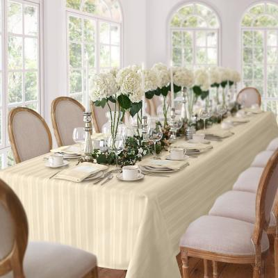 60 in. W x 120 in. L Ivory Elrene Denley Stripe Damask Fabric Tablecloth