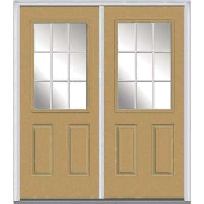 72 in. x 80 in. White Internal Grilles Right-Hand Inswing 1/2-Lite Clear Painted Fiberglass Smooth Prehung Front Door