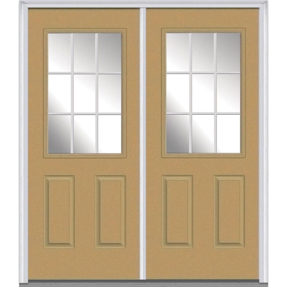 72 in. x 80 in. White Internal Grilles Right-Hand Inswing 1/  sc 1 st  Home Depot & Light Brown - Fiberglass - Double Door - Doors \u0026 Windows - The Home ...