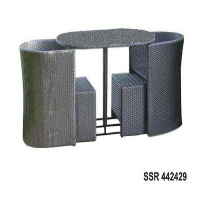 Soho All-Weather Wicker 5-Piece Dining Set with Ottomans