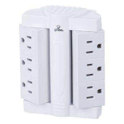 6 Outlet Swivel Surge Protector - White Wall Tap