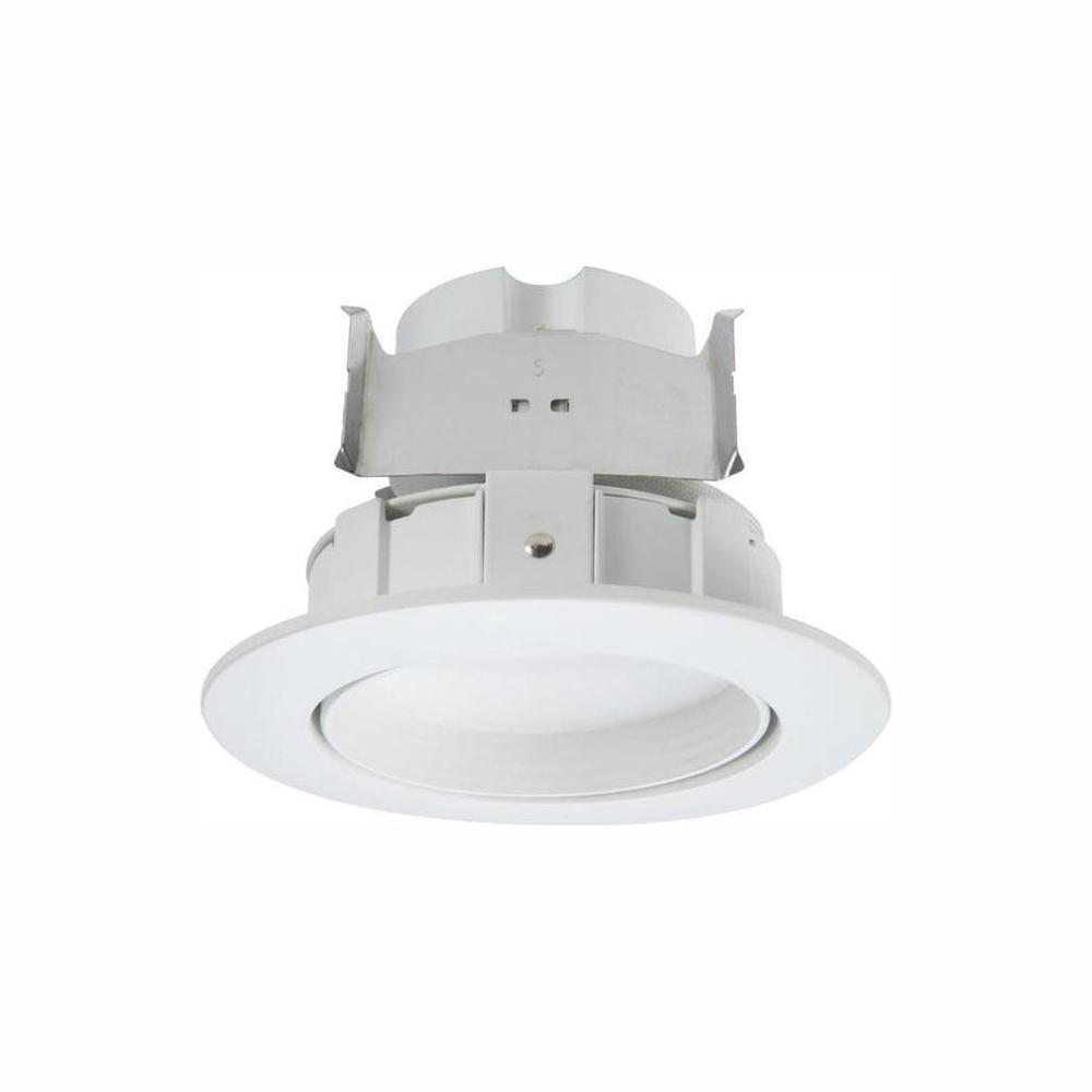 Halo RA 4 in. White Integrated LED Recessed Light Adjustable Gimbal Retrofit Trim with Selectable CCT (2700K-5000K)