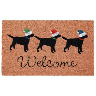 Natura Three Dogs Holiday Natural 18 in. x 30 in. Outdoor Mat