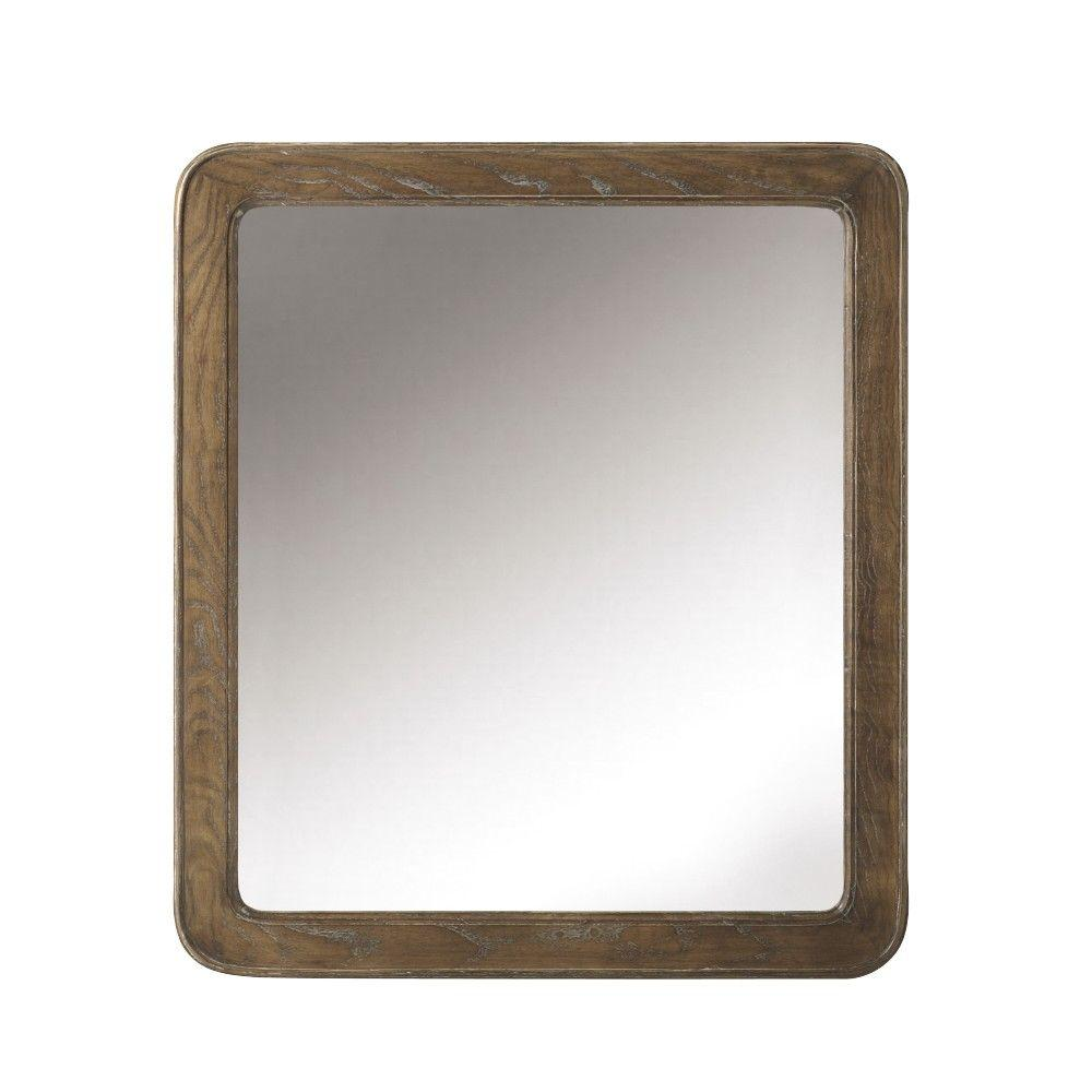 Home Decorators Collection Brisbane 32 in. H x 28 in. W Single Mirror in Weathered Grey Oak
