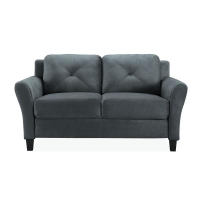 Harvard 56.3 in. Dark Grey Microfiber 2-Seater Loveseat with Round Arms