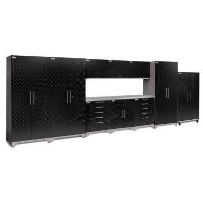 Performance Plus Diamond Plate 2.0 80 in. H x 220 in. W x 24 in. D Garage Cabinet Set in Black (11-Piece)