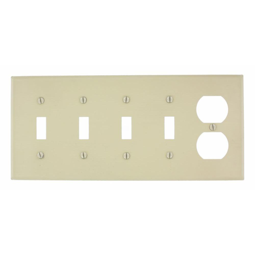 5-Gang 4-Toggle, 1-Duplex Device Combination Wallplate, Painted Metal, Ivory