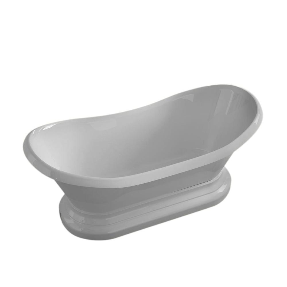 Universal Tubs Ivory 6 Ft. Acrylic Center Drain Oval Bathtub In  White HD3471RS   The Home Depot