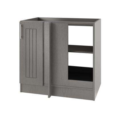 Assembled 39x34.5x24 in. Naples Open Back Blind Outdoor Base Corner Cabinet with Full Height Doors Right in Rustic Gray