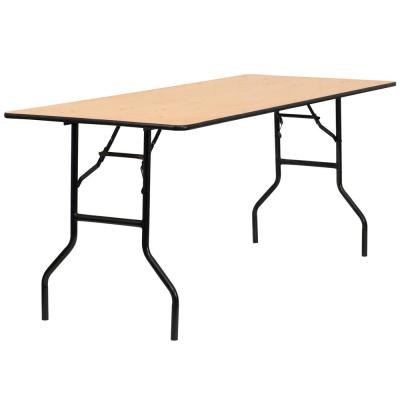72 in. Natural Wood Tabletop Metal Frame Folding Table