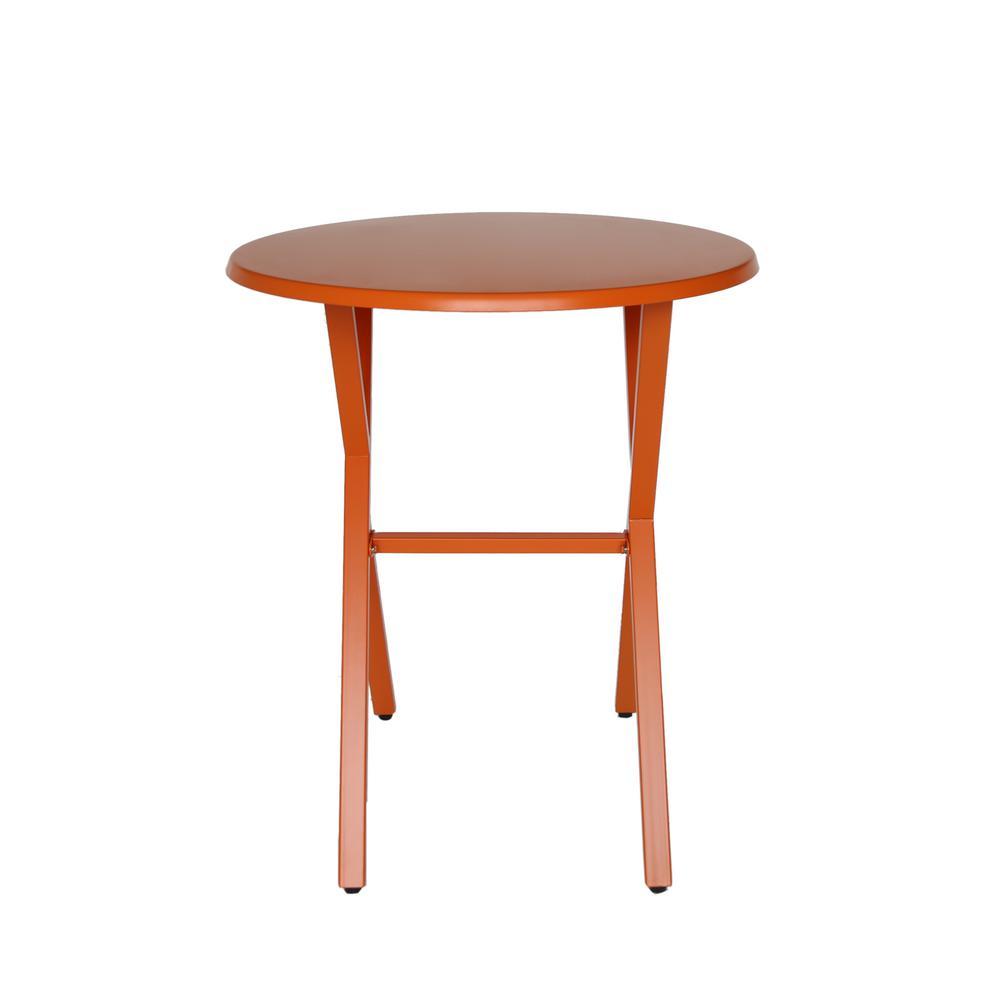 Taro Matte Orange Round Metal Outdoor Bistro Table