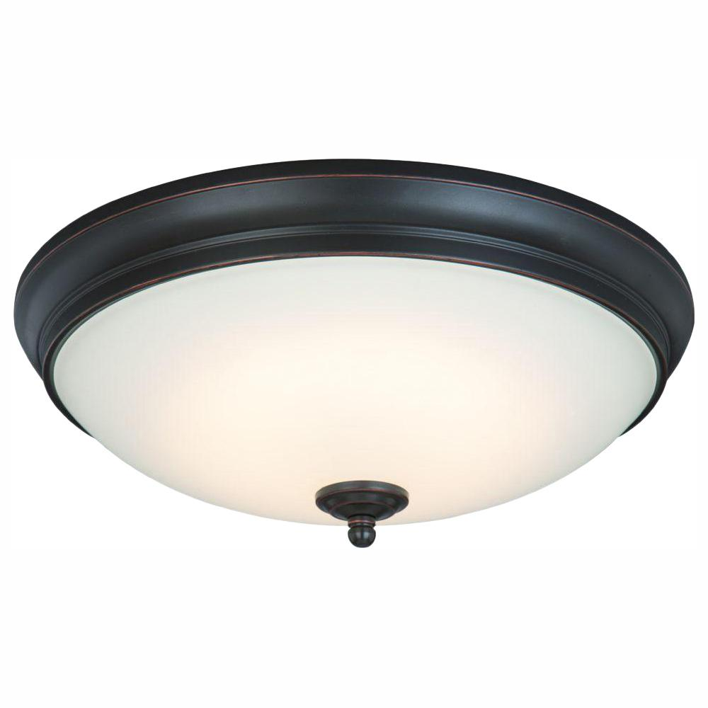 CommercialElectric Commercial Electric 13 in. 60-Watt Equivalent Oil-Rubbed Bronze Integrated LED Flush Mount with White Glass Shade