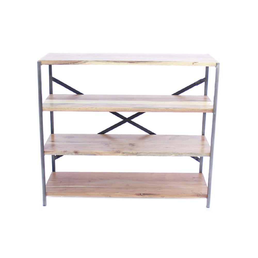 Benzara Brown Spacious Iron Wood Bookshelf Shelves Product Image