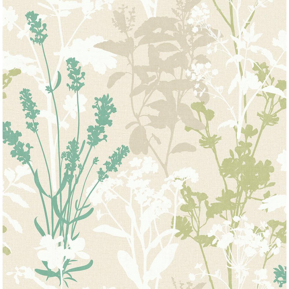 Advantage Pippin Green Wild Flowers Wallpaper Sample 2814-24573SAM