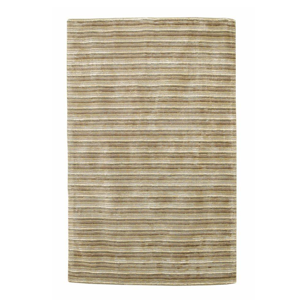 Kas Rugs Textured Stripe Platinum 3 ft. 3 in. x 5 ft. 3 in. Area Rug