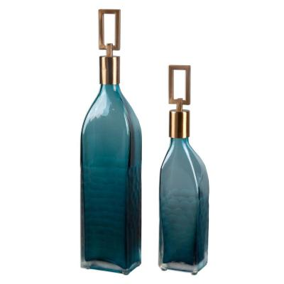 Teal Green Decorative Glass Bottles with Stoppers (Set of 2)