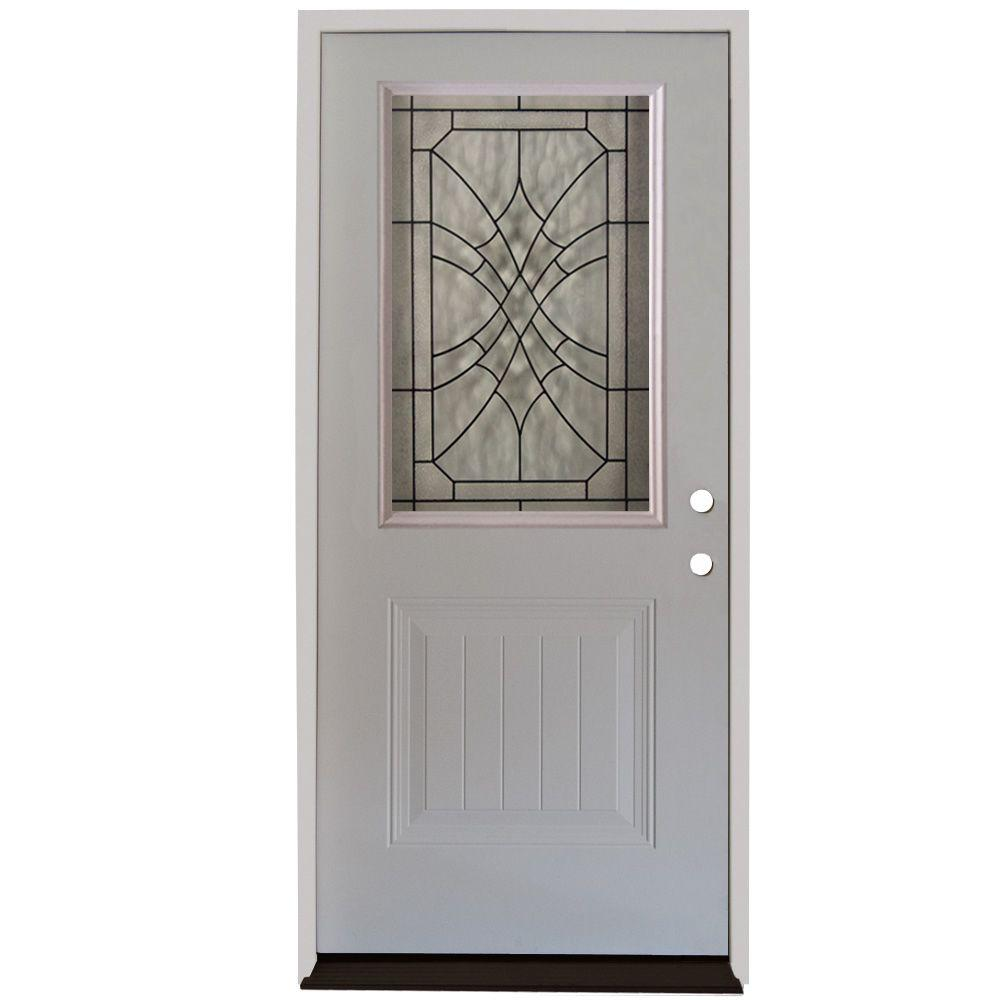 Steves Sons 36 In X 80 In 3 Lite Right Hand Inswing Primed White Steel Prehung Front Door
