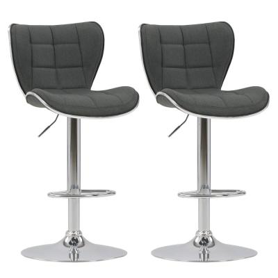 Adjustable Chrome Accented Bar Stool in Dark Grey Fabric (Set of 2)