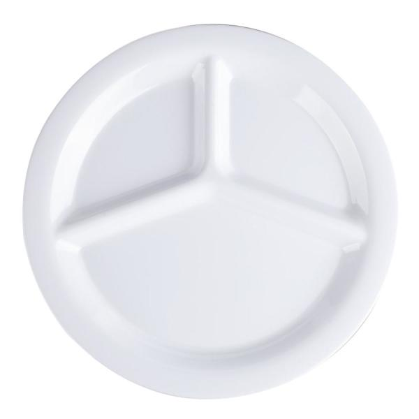 Carlisle 10.5 in. Diameter Melamine 3-Compartment Dinner Plate in White (Case of 12)