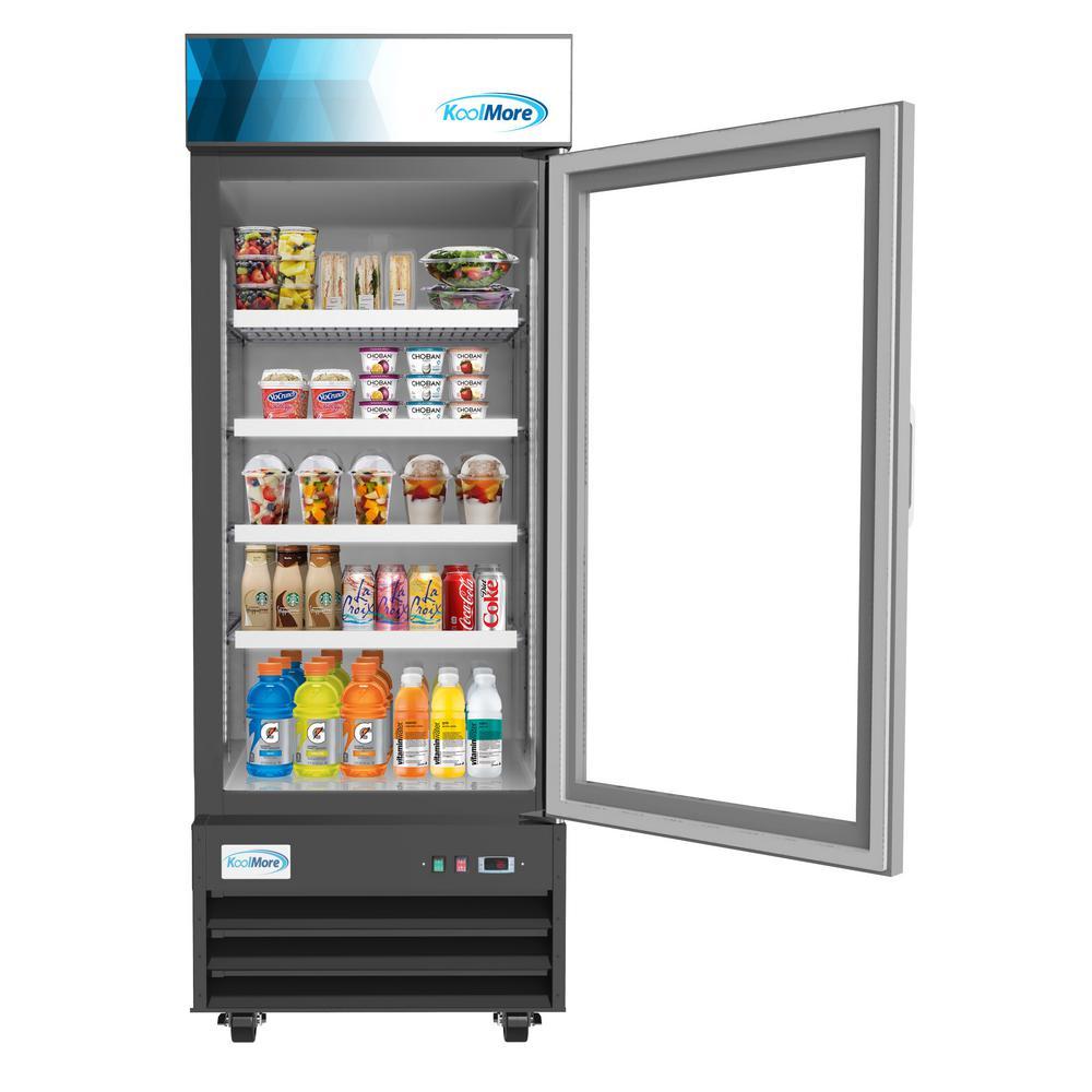 23 cu. ft. Commercial Upright Display Refrigerator Glass Door Merchandiser with LED Lighting in Black