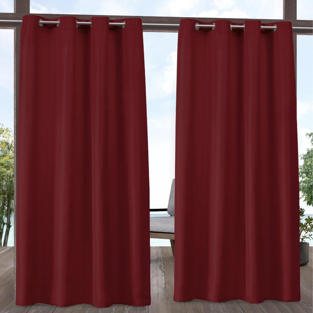 Indoor/Outdoor Solid Cabana Grommet Top Curtain Panel Pair in Radiant Red - 54 in. W x 96 in. L (2-Panel)