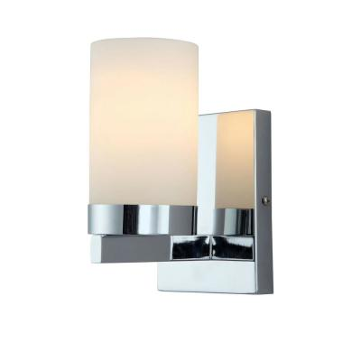 Milo 4.75 in. Chrome Sconce with Opal Glass Shade