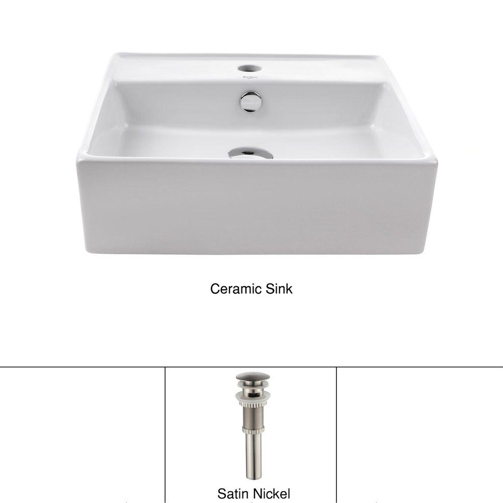 Square Ceramic Vessel Bathroom Sink with Overflow in White and Pop