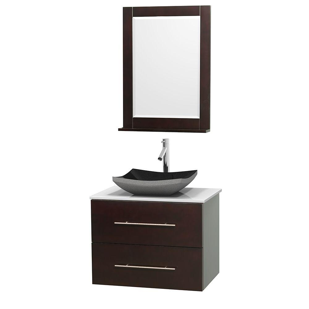 Wyndham Collection Centra 30 in. Vanity in Espresso with Solid-Surface Vanity Top in White, Black Granite Sink and 24 in. Mirror
