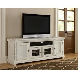 Willow 74 in. Distressed White Entertainment Console