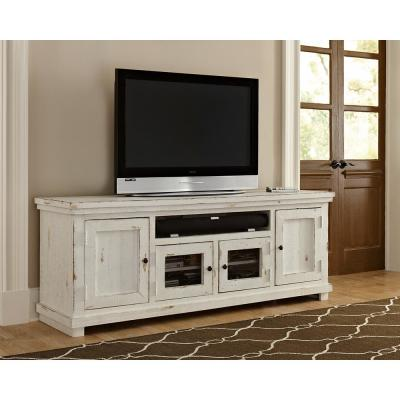 Willow 74 in. Distressed White Wood TV Stand Fits TVs Up to 80 in. with Storage Doors