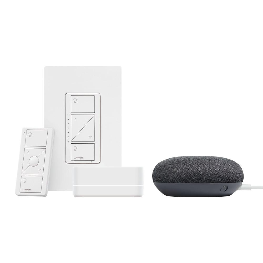 Lutron Caseta Wireless Smart Lighting Dimmer Switch Starter Kit w Google Home Mini Charcoal