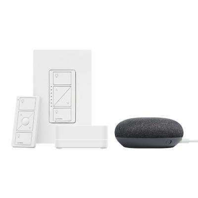 Caseta Wireless Smart Lighting Dimmer Switch Starter Kit w Google Home Mini Charcoal