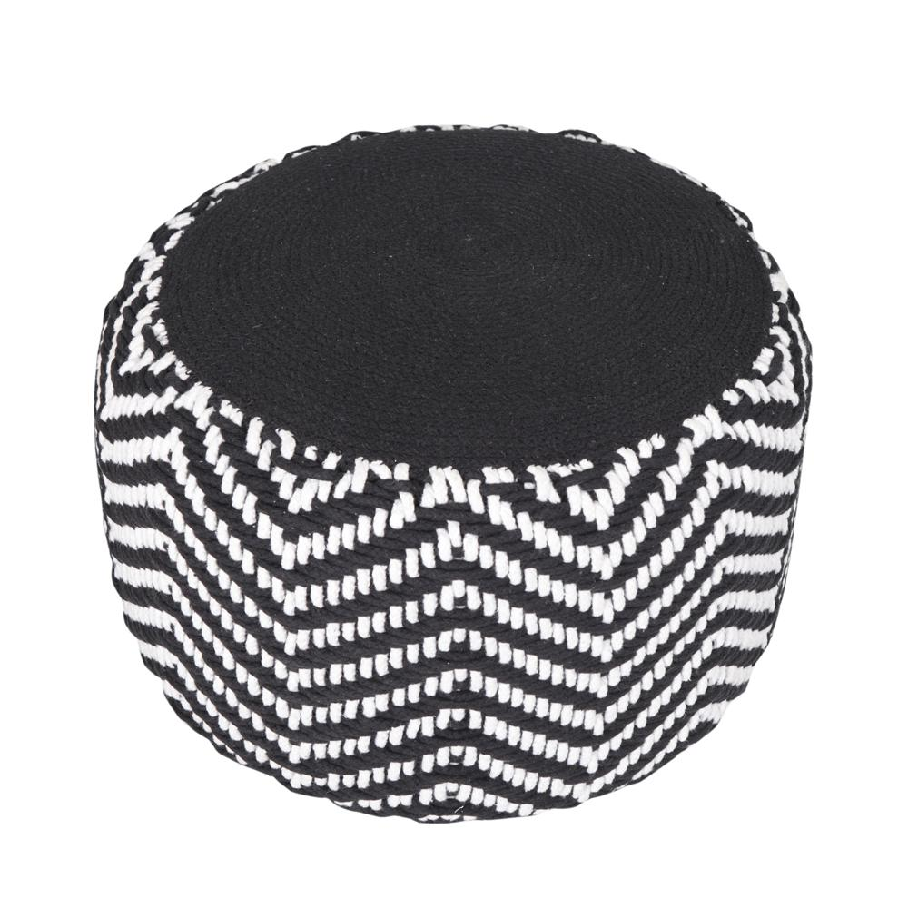 Chevron Cord Black / Natural Round 20 in. x 14 in.