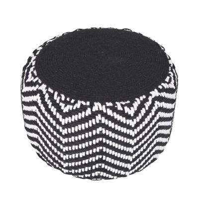 Chevron Cord Black / Natural Round 20 in. x 14 in. Indoor Pouf