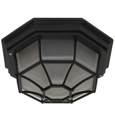 Megan 1-Light Black Outdoor Flushmount