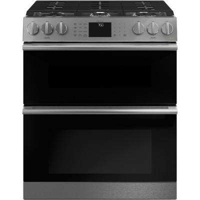 30 in. 6.7 cu. ft. Smart Slide-In Double Oven Gas Range with Self-Cleaning Convection Oven in Platinum Glass
