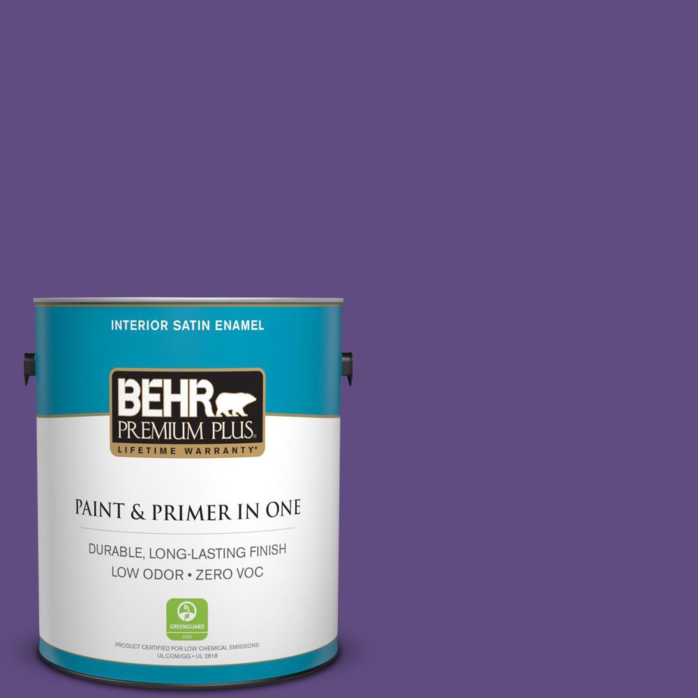 1 gal. #PPU16-02 Vigorous Violet Zero VOC Satin Enamel Interior Paint