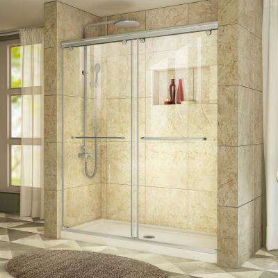 Charisma 30 in. x 60 in. x 78.75 in. Shower Kit in Brushed Nickel with Center Drain Shower Base