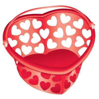 7 in. x 7.75 in. Valentine's Day Heart-Shaped Red Plastic Container (7-Pack)