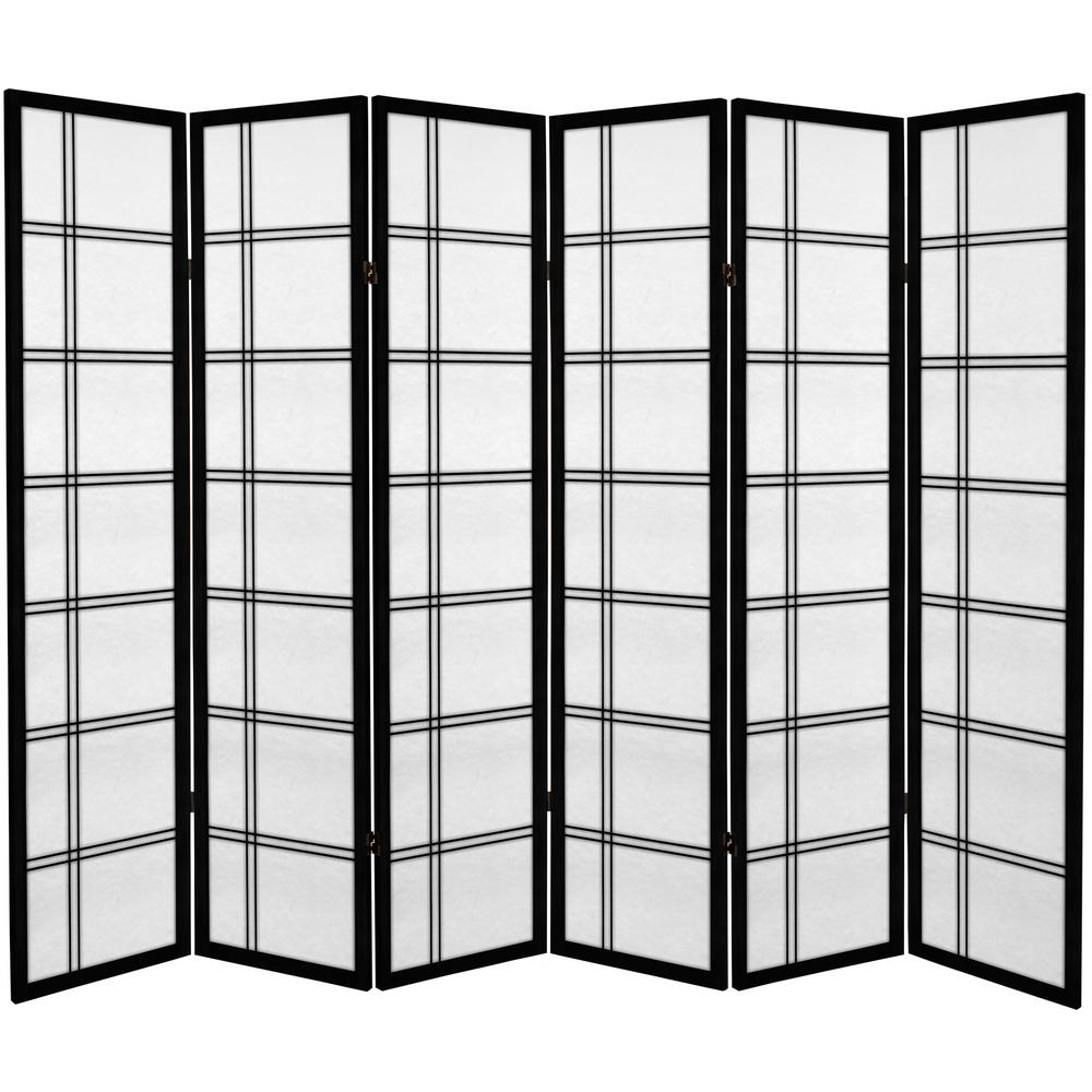 6 ft. Black Canvas Double Cross 6-Panel Room Divider