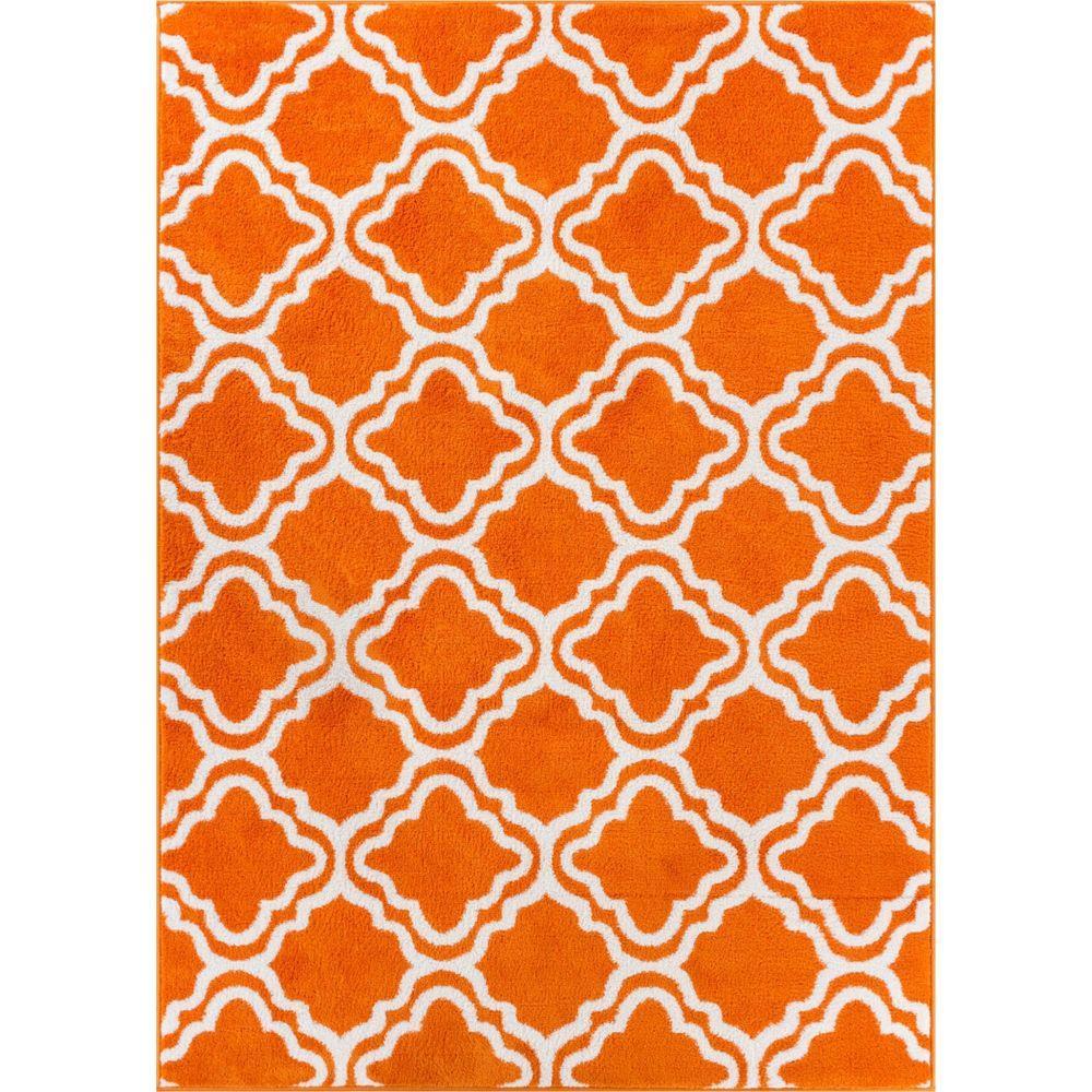 StarBright Calipso Orange 5 ft. x 7 ft. Kids Area Rug