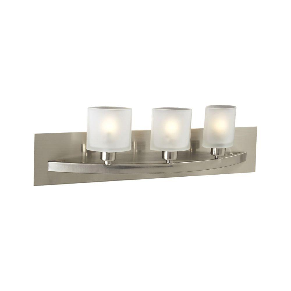 Halogen Bathroom Lights: Illumine Contemporary Beauty 3-Light Satin Nickel Halogen