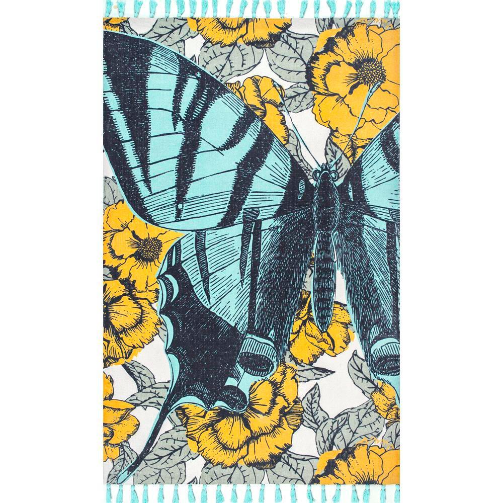 Nuloom Thomas Paul Flat Weave Butterfly Tassel Green 5 Ft